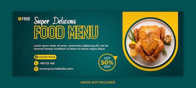 Jedzenie w mediach społecznościowych lub szablon okładki na facebooku