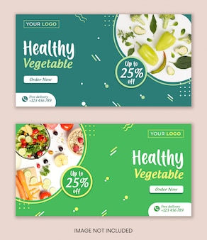 Jedzenie warzyw mediów społecznościowych szablon transparent szablon transparent