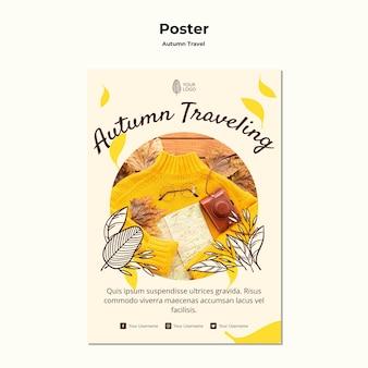 Jesień plakat podróżny szablon