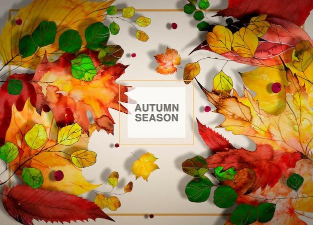 Jesień sezonu tło z zielonymi gałąź