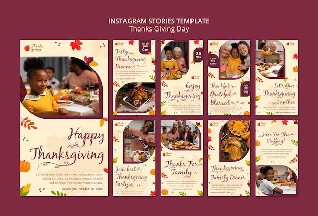 Jesienna kolekcja historii z mediów społecznościowych na święto dziękczynienia