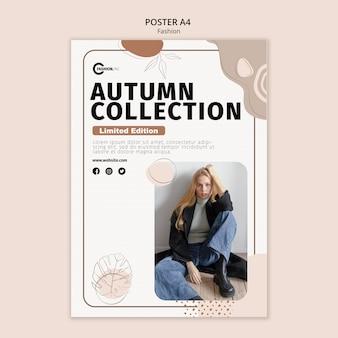 Jesienna kolekcja plakatu szablon