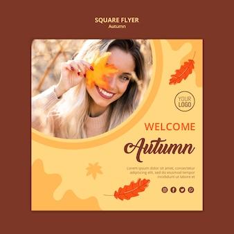 Jesienna reklama kwadratowa ulotka szablon