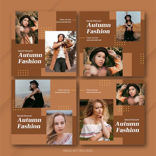 Jesienna wyprzedaż sezonowa instagram post pakiet szablon premium psd