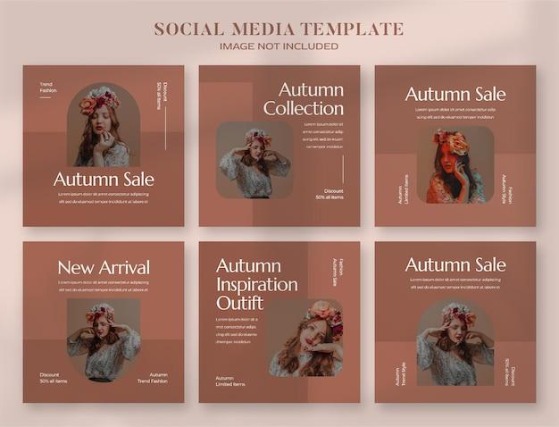 Jesienny baner społecznościowy i szablon postu na instagram
