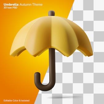 Jesienny parasol pora deszczowa symbol 3d ilustracja renderowania ikona edytowalna na białym tle