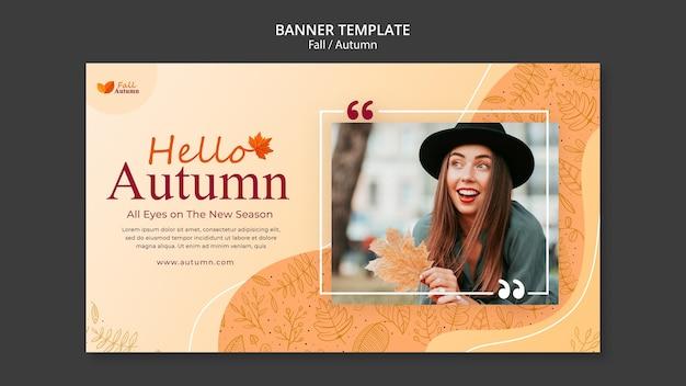 Jesienny poziomy szablon banera