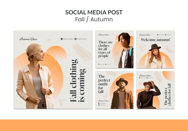 Jesienny projekt szablonu jesiennego postu w mediach społecznościowych