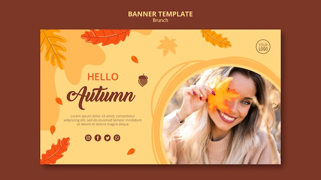 Jesienny szablon banera reklamowego