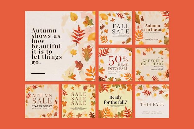 Jesienny szablon cytatu psd zestaw do postu w mediach społecznościowych