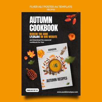 Jesienny szablon plakatu książki kucharskiej