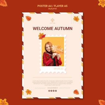 Jesienny szablon plakatu reklamy