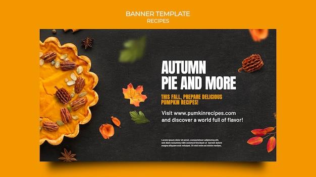 Jesienny szablon transparentu z jedzeniem