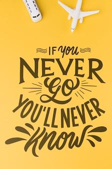 Jeśli nigdy nie pójdziesz, nigdy się nie dowiesz, napis do koncepcji podróży