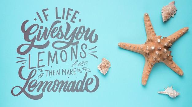 Jeśli życie daje ci cytryny, zrób lemoniadę. inspirujący i motywujący cytat z napisami