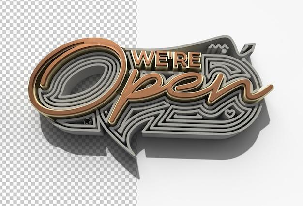 Jesteśmy otwarte/zamknięte kaligraficzne 3d przezroczysty plik psd.