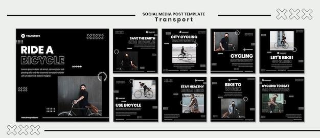 Jeździć rowerem szablon postu w mediach społecznościowych