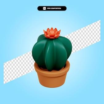 Kaktus roślina 3d render ilustracja na białym tle