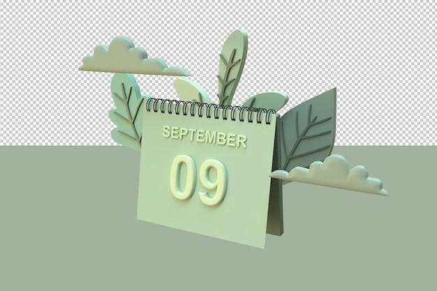 Kalendarz 3d 9 września z ornamentami w kształcie liści i chmur z jesienną koncepcją