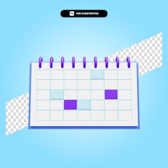 Kalendarz 3d render ilustracja na białym tle