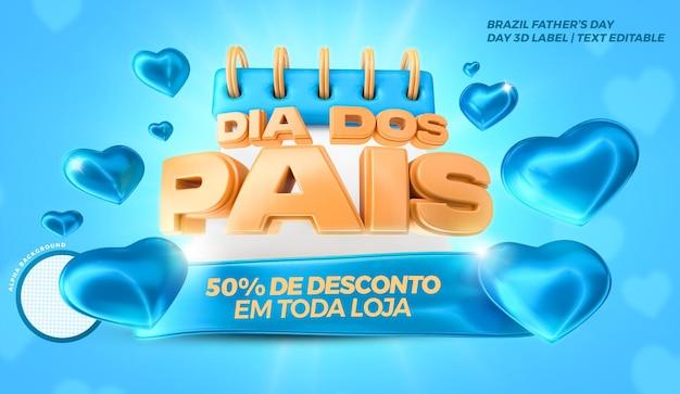 Kalendarz dnia ojca z niebieskimi sercami brazylia campaing 3d etykieta render .