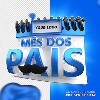 Kalendarz dnia ojca z niebieskimi sercami w brazylijskiej kampanii renderowania etykiet 3d