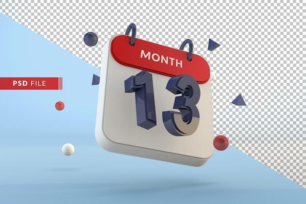 Kalendarz numer 13 na białym tle szablon renderowania 3d