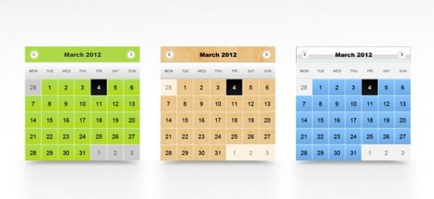 Kalendarza szablony psd