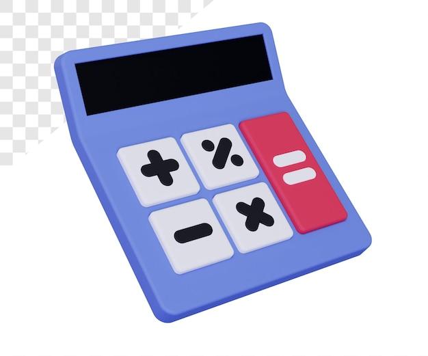 Kalkulator 3d z pięcioma dużymi przyciskami renderującymi na białym tle