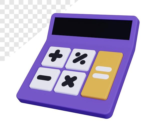 Kalkulator 3d z renderowaniem przycisków na białym tle