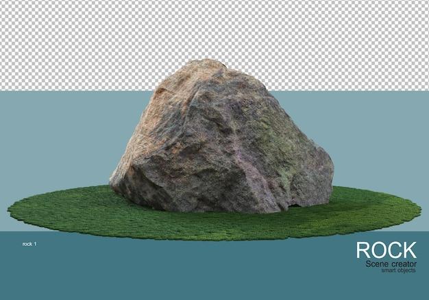 Kamienie różnej wielkości na trawniku