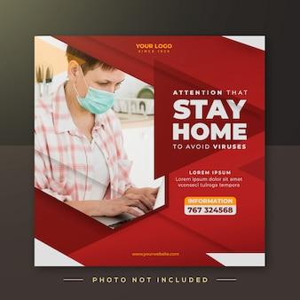 Kampania pozostania w domu, szablon posta na instagramie