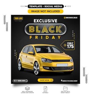 Kanał postów w mediach społecznościowych na temat sprzedaży samochodów w czarny piątek