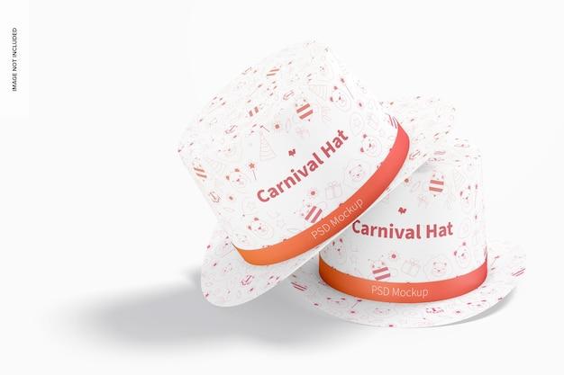Karnawałowe kapelusze makieta, ułożone w stos