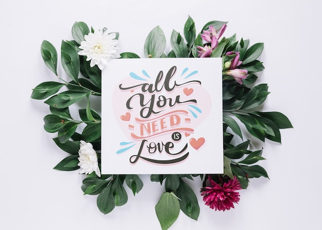 Karta makieta z kwiatów walentynki koncepcja