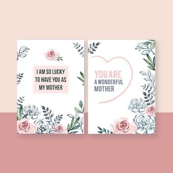 Karta na specjalne okazje na dzień matki eleganckie słodkie kwiaty