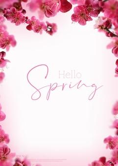 Karta piękne wiosenne kwiaty, motyw sezonu, witaj wiosna