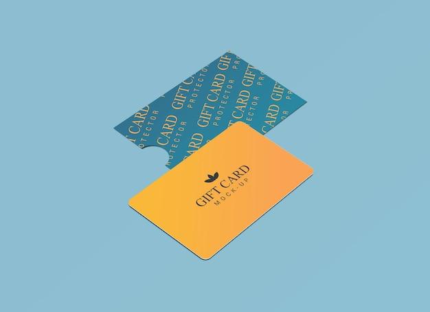 Karta podarunkowa z projektem makiety papierowego ochraniacza