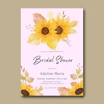 Karta prysznicowa dla nowożeńców z akwarelowym słonecznikiem