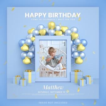 Karta zaproszenie chłopca z okazji urodzin dla niebieskiego szablonu postu na instagramie w mediach społecznościowych z makietą