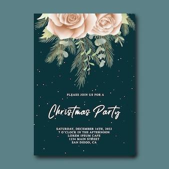 Karta zaproszenie na przyjęcie bożonarodzeniowe z akwarelowymi kwiatami