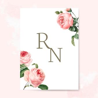 Karta zaproszenie na ślub ozdobiony różami