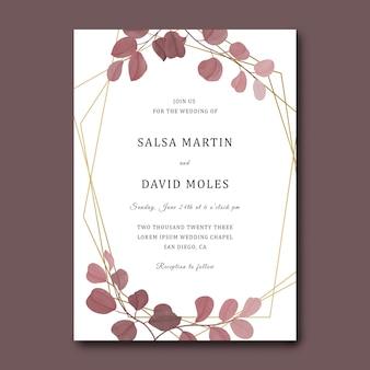 Karta zaproszenie na ślub z geometryczną ramą i szablonem liści eukaliptusa akwarela