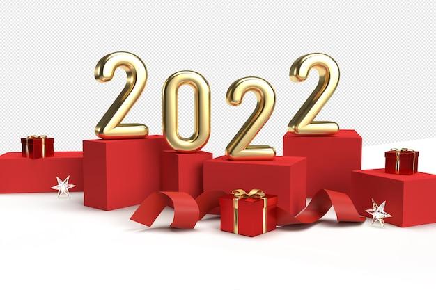 Kartka noworoczna 2022 z cyframi na czerwonych kostkach z prezentami i wstążką
