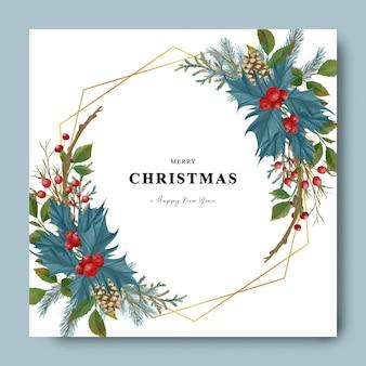 Kartka świąteczna i noworoczna z akwarelową ramką z liści świątecznych