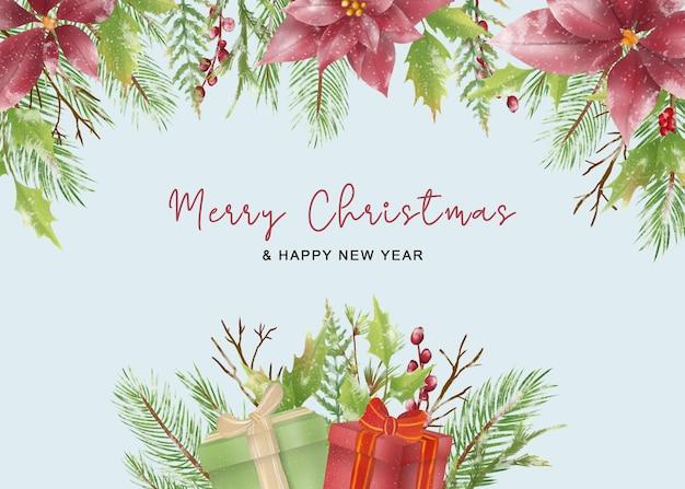Kartka świąteczna z liśćmi świątecznymi w stylu akwareli