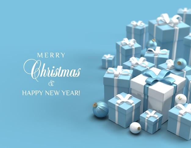 Kartka świąteczna z niebieskimi i białymi prezentami świątecznymi na luksusowym tle blu