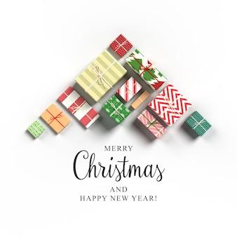 Kartka świąteczna z prezentami ustawionymi jako choinka