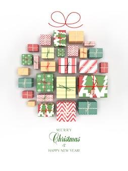 Kartka świąteczna z prezentami w postaci bombki
