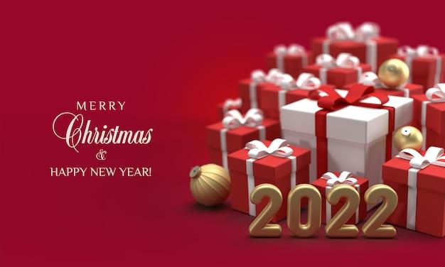 Kartka świąteczna z selektywnym naciskiem na prezenty i 2022 numery na czerwonym tle